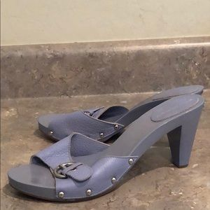 Burberry Leather Wood & Studded Mules